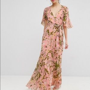 ASOS cottage core pleated maxi dress